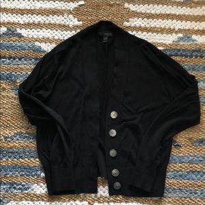 J.Crew black cotton blend vneck cropped cardigan S